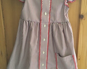 Up-cycled, repurposed girls dress made from men's shirt red stripe Size 5