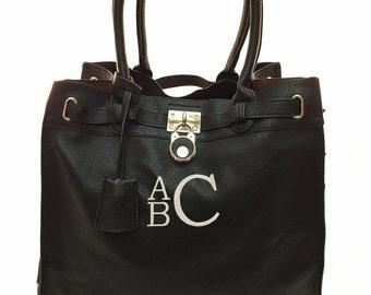 Personalized Black Handbag with Insert