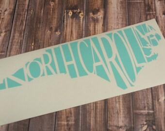 North Carolina State Decal, NC Decal, Yeti Decal, North Carolina State Sticker, State Pride, Macbook Decal, North Carolina Decal