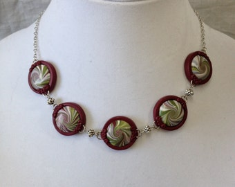 Necklace - Burgundy and multicolor swirl