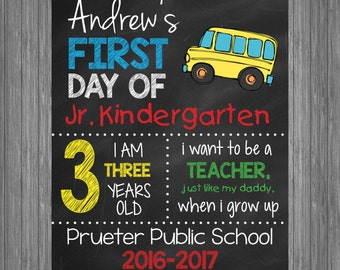 First Day of School Sign   First Day of School Chalkboard Photo Prop   Personalized Back to School Sign