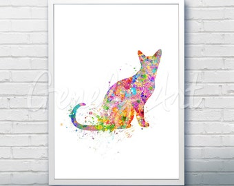 Cat Watercolor Art Print  - Watercolor Painting - Cat Watercolor Art Painting - Cat Poster - Home Decor -House Warming Gift [2]