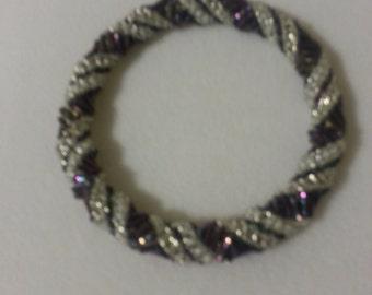 purple iris beaded bangle bracelet