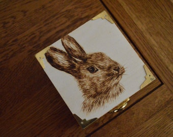 Rabbit Pyrography Wooden Trinket Box