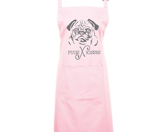 For Pug Mom's Everywhere - Pugs and Kisses Kitchen & Baking Apron. 16 Colours. The Perfect Pug Gift. 1061