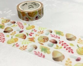 Chestnut mushroom washi tape 7M x 1.5cm Pine nuts washi tape fall forest Chestnut plant deco sticker tape lovely kamoi tape planner gift