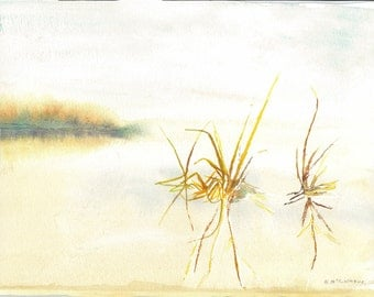 print of my water color painting, early morning by the lake
