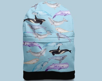 Whales ,Watercolor backpack bag