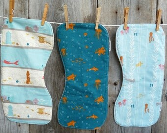 Boys Burp cloths, Organic burp cloth, Baby shower gift, Beach baby, Surf baby, Organic baby gift, Ocean baby,Newborn boy,100% Organic cotton
