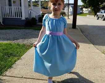 Girls 2T-8 Wendy Darling Peter Pan Inspired Dress, Costume, Disney Vacation Outfit, Girl Disney World clothes, Dress up play, Kids Cosplay