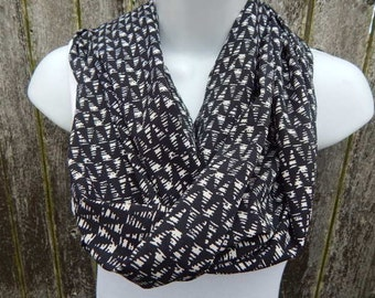 Black and Cream  Silky Infinity Scarf