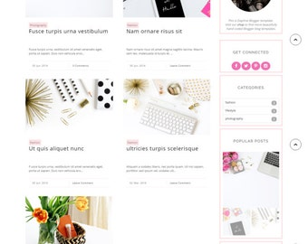 Installation Included - Responsive blogger template lifestyle fashion beauty food travel feminine blog theme -Daphne ( Free Installation )