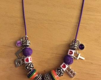 Purple Beaded LGBT Necklace