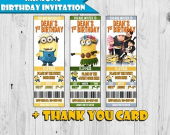 Minions Birthday Invitations - Ticket Invitation - Printable - Digital - Personalized - Free thank you card