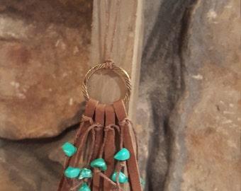 Leather fringe and turquoise boho necklace