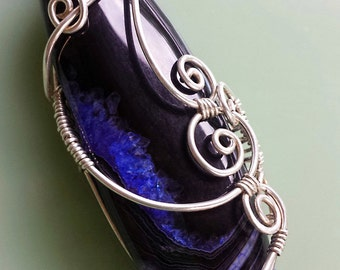 Blue Striped Agate, Silver Wire Wrapped, Necklace