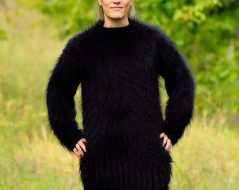 Hand Knitted Mohair Sweater Black