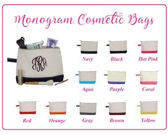 Monogram Cosmetic Bag, Monogram MakeUp Bag, Personalized Makeup Bag, Personalized Cosmetic Bag, Canvas Cosmetic Bag, Bridesmaid Gift