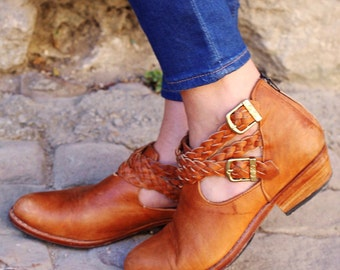 Custom Leather Braid Boho Booties~Ankle Boots~Leather Booties~Tan Booties~Tan Boots~Fall Boots~Fall Booties~Western~Customizable~Hippie
