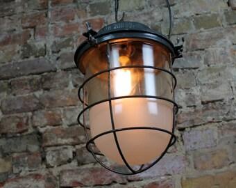 Large Soviet Original Industrial factory Cage Lamp Fabrik Design Bunker Lampe LOFT made in Soviet Union