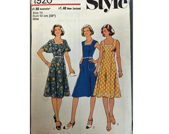 "Vintage Style 1920 Sewing Pattern for ""Misses' and Women's Dress"" From 1977 / Size 14 Bust 36"