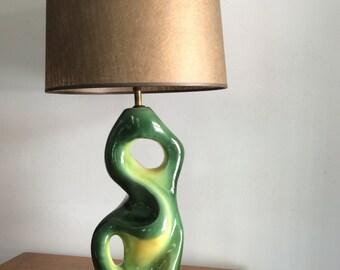 Mid-Century Modern Green Biomorphic Heifetz-Style Table Lamp