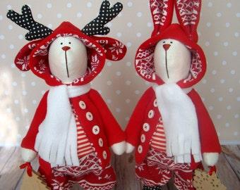 Christmas friends-Bunny Christmas-Christmas deer-Christmas Gift-Christmas Present-Handmade doll-Textile Doll-Handmade toy-tilda-new year