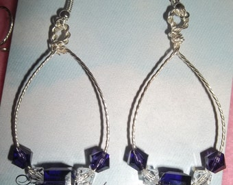 Tanzanite Swarovski Crystals and Twisted Wire earrings