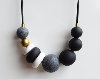 Modern bead necklace, Black Chunky necklace, Polymer clay necklace, Beaded necklace, Statement Black and white necklace, Minimal jewelry