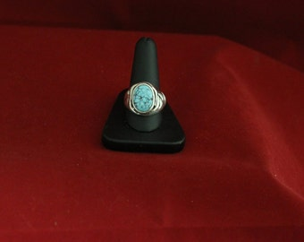 Sterling Silver & Spider Web Turquoise Ring