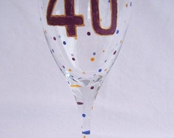 40th Birthday Glass