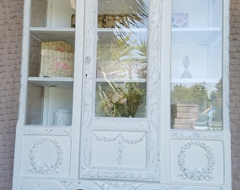 Vintage White Hand Painted China, Display Cabinet