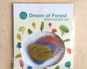 50 pcs PVC Transparent deco stickers - tree, dream of forest