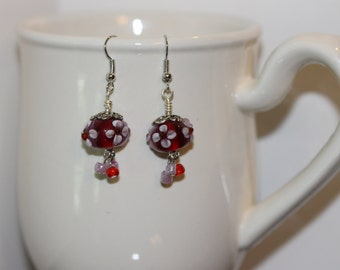Red Lampwork Beads with White Flowers By 4C'sBeadworks
