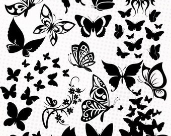 Butterfly / Butterflies - 20 png/svg/dxf/eps/studio - Silhouettes, vector cutting files, clipart, scrapbooking svg butterflies cutting files