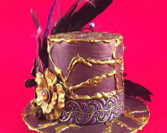 Steampunk Metallic Purple Gold Miniature Top Hat Fascinator Hand Painted Cosplay Victorian Fantasy Wedding Fashion Wearable Art Accessories