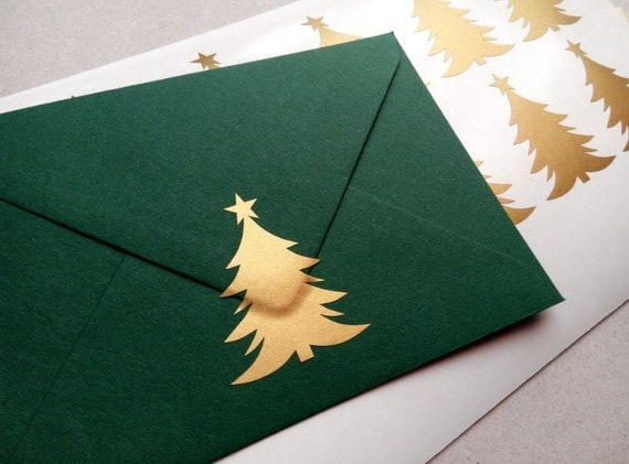 Gold christmas tree stickers holiday