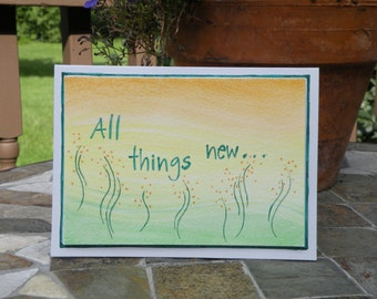 """Hand-crafted Christian Greeting Card """"All Things New"""""""