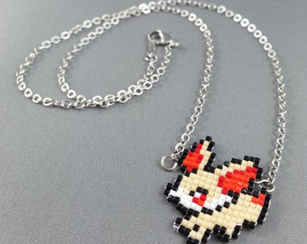 Fennekin Necklace - Pixel Necklace Pokemon Necklace Pixel Jewelry 8 bit Necklace Seed Bead Neklace Video Game Necklace Starter Pokemon