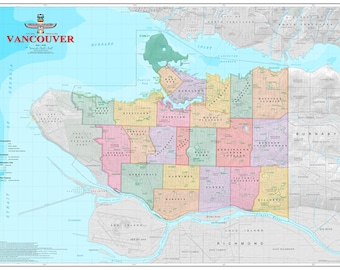 Vancouver, BC - Vancouver Neighborhoods Map - Cartographic Design