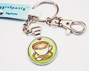 coffee gift - KEYCHAIN - COFFEE KEYRING, coffee gift keychain, sister key chain, coworker key chain, coffee key ring, small gifts for her