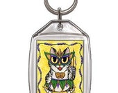 Mardi Gras Cat Keychain New Orleans Fat Tuesday Party Fantasy Cat Art Keychain Keyring Cat Lovers Gifts