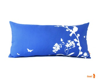 SALE - Cobalt Bird and Blooms Rectangle Pillow-Cottage chic Decor- Blue Bird Lumbar Pillow