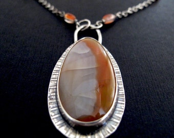 Sterling Silver Gemstone Art Jewelry Necklace with Laguna Lace Agate and Carnelian - one of a kind OOAK Statement Necklace