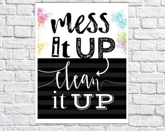 Clean Up Print Playroom Rules Wall Decor Children's Room Art For Kids Responsibility Quote Kindergarten Classroom Art Family Rules Preschool