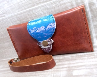 Leather Long Wallet, Phone Case with Wrist Strap & Zipper Pocket Chestnut Mountain Pattern Digital Photo on Genuine Leather
