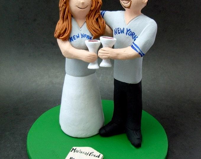 Yankees Bride and Groom Baseball Wedding Cake Topper, Yankees Baseball Wedding Anniversary Cake Topper, Yankees Wedding Anniversary Gift.