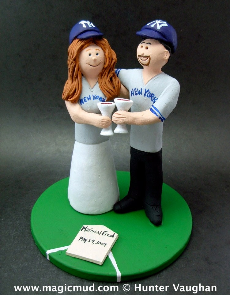 Yankees Bride And Groom Baseball Wedding Cake Topper Anniversary Gift