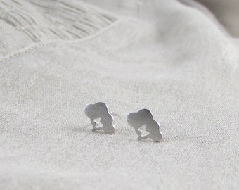 Sterling Silver Tiny Cloud Ear Studs