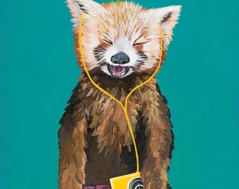 Digital Print of Original Painting Red Panda with Vintage Yellow Cassette Walkman